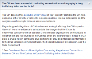 CIA's FAQ section addressing drug trafficking.